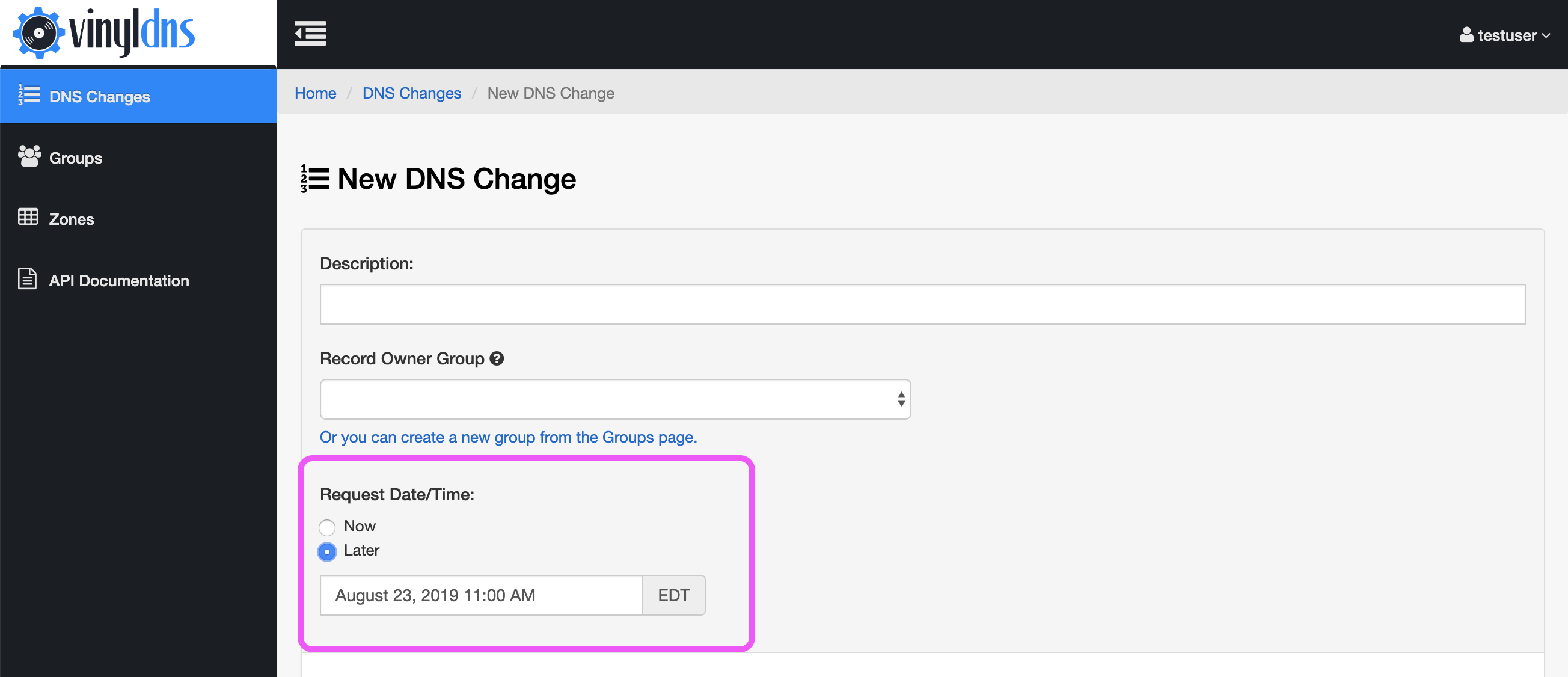 New DNS Change form with scheduling field