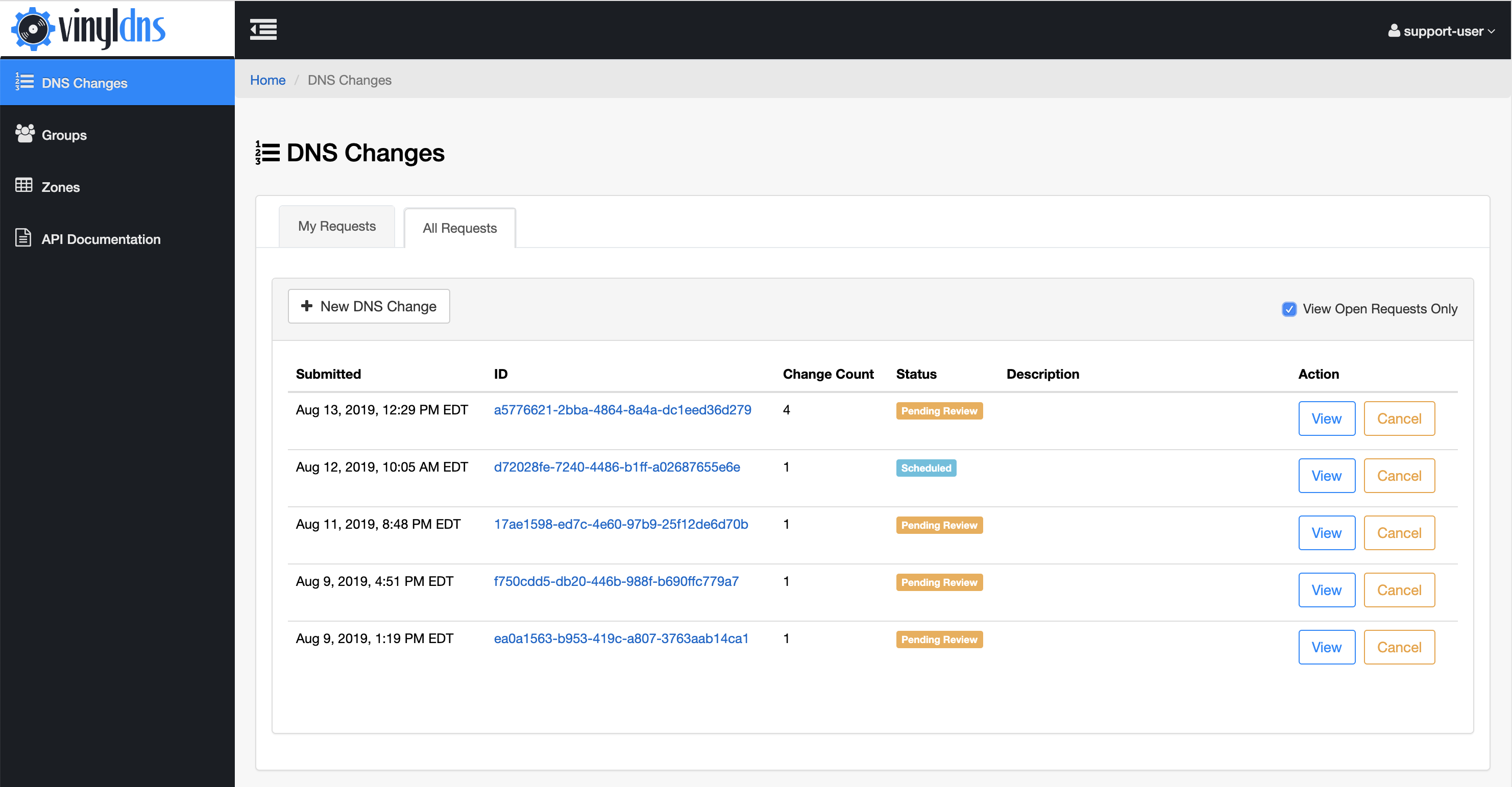 DNS Changes admin view